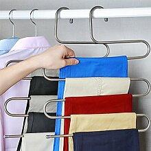 Mehrfach Kleiderbügel aus Edelstahl Platzsparend Hosenbügel für 5 Hosen (1 Stück)