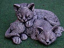 Mehrholz Steinfigur Katze Katzenpaar schwarz