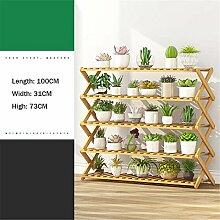 Mehrschichtige Pflanze Regal Rack Falten Bambus