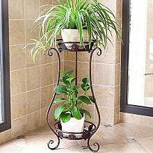 Mehrzweck-Blumenregale 2 Tiered Scroll Dekorative Metallständer Pflanze Indoor Blumentopf Rack Display Regal Hält 2 Blumentopf Schwarz Für innen und außen (Farbe : Braun, größe : Große)