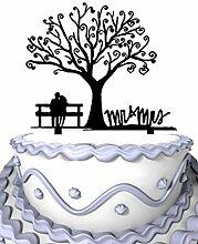 Mei Jia Fei Kirschbluten-Baum Die Braut und Brautigam sitzen im Stuhl Script Mr & Mrs Wedding Cake Topper