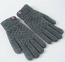 MEIDUO Handschuhe & Fäustlinge Männer Herbst Winter gestrickte Handschuhe warme männliche Verdickung Touch Screen 18-60 Jahre alt Beste Geschenke ( Farbe : Grau )