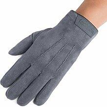 MEIDUO Handschuhe & Fäustlinge Reithandschuhe Männer Winter Verdickung Winddicht warm halten volle Finger Beste Geschenke ( Farbe : Grau )
