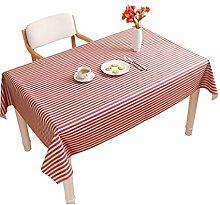 MEIE QIG Anti-Heiße Tischdecke, Streifen-Druckspeisetisch-PVC-Tischdecke-Wasserdichtes Weiches Glas-Kreative Tischdecke-Breite 80-240CM (Farbe : Rot, Größe : 137*170CM)