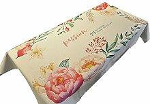 MEIE QIG Blumen Tischdecke, Tuch Kunst Druck Rechteck Tischdecke Wohnzimmer Esstisch Pflanze Tischdecke Kreative Tischdecke 85-240 cm (Farbe : C, Größe : 136*136CM)