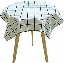 MEIE QIG Geometrie Tischdecke, Baumwolle und Leinen kleine frische Esstisch runden Tisch Quadrat verdicken Gitter Tischdecke Tuch Kunst Kaffee Tisch Tischdecke 60-135 cm (Farbe : B, größe : 90*90cm)
