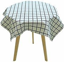 MEIE QIG Gitter Tischdecke, Baumwolle und Leinen kleine frische Esstisch runden Tisch Quadrat verdicken Tischdecke Tuch Kunst Couchtisch Tischdecke 60-135 cm (Farbe : B, größe : 135*135CM)