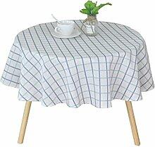 MEIE QIG Gitter Tischdecke, Kreative Geometrie Weiß Tischdecke Esstisch Couchtisch Tischdecke Restaurant Tuch Kunst Tischdecke Länge 100-150 CM (Farbe : Blau, größe : 120*120CM)