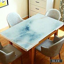 MEIE QIG Marmor Muster Tischdecke, PVC Kreative Wasserdicht Anti-heiß Öl-Beweis Kristall Platte Soft Glas Couchtisch Kunststoff Tischdecke Länge 60-120cm (Farbe : Blau, Größe : 80*120cm)