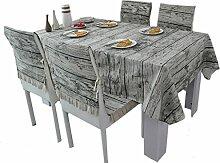 MEIE QIG Nachahmung Holzmaserung Tischdecke, Restaurant Tuch Kunst Tischdecke Blumen Wohnzimmer Tischdecke Druck Esstisch Reine Farbe Tischdecke 150-220 cm (Größe : 150*180CM)
