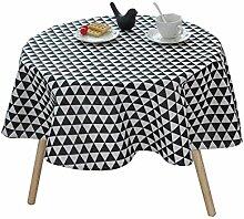 MEIE QIG Restaurant Tischdecke, Tuch Kunst Couchtisch Kreative Tischdecke Streifen Gitter Tischdecke Geometrie Esstisch Tischdecke Länge 100-150 CM (Farbe : Schwarz, größe : 130*130CM)