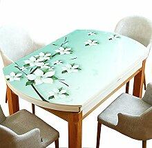 MEIE QIG Retro Tischdecke, Druck Weichglas Tischdecke Wasserdicht Anti-Heißen Ovalen Tischdecke PVC Kunststoff Kristall Platte Tischdecke Länge 120-150 cm (Farbe : A, Größe : 90*150CM)