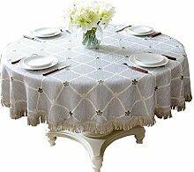 MEIE QIG Spitze Tischdecke, Druck Tuch Kunst Rechteck Tischdecke Restaurant Kreative Tischdecke Blumen Esstisch Tischdecke Durchmesser 130-220 cm (Farbe : Lila, Größe : 180CM)