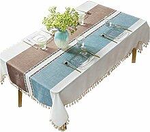 MEIE QIG Streifen Tischdecke, kreative Splice Restaurant Wohnzimmer Tischdecke Esstisch Druck Blumen Tischdecke Tuch Kunst Pflanze Tischdecke 90-220 cm (Farbe : B, größe : 130*130CM)