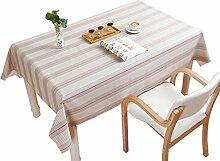 MEIE QIG Streifen-Tischdecke, PVC-kreativer Fernsehschrank Anti-Heiße Tischdecke, die Wasserdichte Weiche Glastischdecke-Breite 60-240CM Druckt (Farbe : Rot, Größe : 137*200CM)