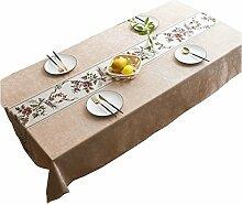 MEIE QIG Tuch Kunst Tischdecke, Esstisch Restaurant Tischdecke Pflanzen Blumen Drucktischdecke Kreative Rechteck Tischdecke 60-240 CM (Farbe : A, größe : 110*170CM)
