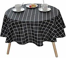 MEIE QIG Tuch Kunst Tischdecke, Gitter Streifen Tischdecke Couchtisch Esstisch Tischdecke Blumen Pflanze Tischdecke Länge 100-150 CM (Farbe : Schwarz, größe : 100*100CM)