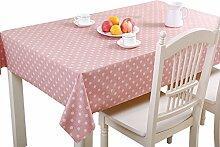 MEIE QIG Wohnzimmer Tischdecke, Esstisch Wasserdicht PVC Tischdecke Blumen Restaurant Runde Punkt Tischdecke Druck Pflanze Tischdecke 90-220cm (Farbe : Pink, Größe : 120*120CM)