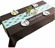 MEIE QIG Wohnzimmer Tischdecke, Geometrie Tuch Kunst Gitter Restaurant Streifen Esstisch Kreative Handwerk Stil Pflanze Druck Tischdecke 85-240 cm (Farbe : B, Größe : 140*180CM)