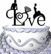 meijiafei Hochzeit Cake Topper, kursiv Love, mit