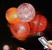 Meiju Lichterkette mit Kugeln aus Baumwolle, mit 8