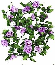 Meiliy 2er-Pack 4,50 m Künstliche Rosen-Kletterpflanze Blumen Pflanzen Künstliche Blumen Dekoration für Zuhause, Büro, Hochzeit, Party, Gartendeko hellviole