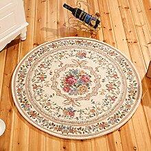 Meilunmeihuan@ Runde Jacquard Einfache Teppich für Wohnzimmer Blume Schlafzimmer Teppiche Fußmatte Couchtisch Teppich, 3,90 cm Durchmesser