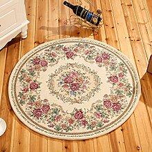 Meilunmeihuan@ Runde Jacquard Einfache Teppich für Wohnzimmer Blume Schlafzimmer Teppiche Fußmatte Couchtisch Teppich, 6.100 cm Durchmesser