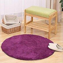 Meilunmeihuan@ Verdicken runde Teppiche für Wohnzimmer Home Schlafzimmer Teppiche Computer Stuhl Fußmatte Kinder Spielteppich/Tisch Teppich, Lila, 120cm Durchmesser
