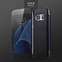 Meimeiwu Mirror Effect Flip Hülle Luxus Electroplate Spiegel Mirror Ultra Dünn Schutzhülle Bumper Case Cover für Samsung Galaxy S7 - Schwarz