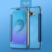 Meimeiwu Mirror Effect Flip Hülle Luxus Electroplate Spiegel Mirror Ultra Dünn Schutzhülle Bumper Case Cover für Samsung Galaxy J5 2015 - Hell Blau