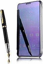 Meimeiwu Mirror Effect Flip Hülle Luxus Electroplate Spiegel Mirror Ultra Dünn Schutzhülle Bumper Case Cover für Samsung Galaxy A8 2016 - Dunkel Blau