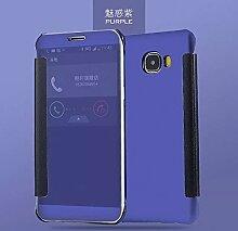 Meimeiwu Mirror Effect Flip Hülle Luxus Electroplate Spiegel Mirror Ultra Dünn Schutzhülle Bumper Case Cover für Samsung Galaxy C5 - Dunkel Blau
