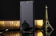 Meimeiwu Mirror Effect Flip Hülle Luxus Electroplate Spiegel Mirror Ultra Dünn Schutzhülle Bumper Case Cover für Samsung Galaxy A3 2016 A310 - Schwarz