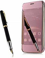 Meimeiwu Mirror Effect Flip Hülle Luxus Electroplate Spiegel Mirror Ultra Dünn Schutzhülle Bumper Case Cover für HuaWei G7 Plus/G8/D199 - Rose Gold
