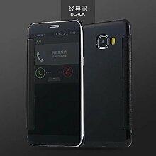 Meimeiwu Mirror Effect Flip Hülle Luxus Electroplate Spiegel Mirror Ultra Dünn Schutzhülle Bumper Case Cover für Samsung Galaxy C9 Pro - Schwarz