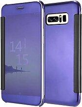 Meimeiwu Mirror Effect Flip Hülle Luxus Electroplate Spiegel Mirror Ultra Dünn Schutzhülle Bumper Case Cover für Samsung Galaxy Note 8 - Dunkel Blau