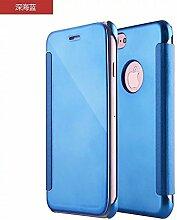 Meimeiwu Mirror Effect Flip Hülle Luxus Electroplate Spiegel Mirror Ultra Dünn Schutzhülle Bumper Case Cover für iPhone 7 Plus - Hell Blau