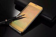 Meimeiwu Mirror Effect Flip Hülle Luxus Electroplate Spiegel Mirror Ultra Dünn Schutzhülle Bumper Case Cover für Samsung Galaxy Note 5 - Gold