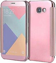 Meimeiwu Mirror Effect Flip Hülle Luxus Electroplate Spiegel Mirror Ultra Dünn Schutzhülle Bumper Case Cover für Samsung Galaxy A3 2017 - Rose Gold