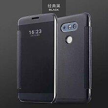 Meimeiwu Mirror Effect Flip Hülle Luxus Electroplate Spiegel Mirror Ultra Dünn Schutzhülle Bumper Case Cover für LG G5 - Schwarz