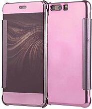 Meimeiwu Mirror Effect Flip Hülle Luxus Electroplate Spiegel Mirror Ultra Dünn Schutzhülle Bumper Case Cover für HuaWei P10 - Rose Gold
