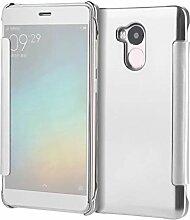 Meimeiwu Mirror Effect Flip Hülle Luxus Electroplate Spiegel Mirror Ultra Dünn Schutzhülle Bumper Case Cover für XiaoMi RedMi 4 Prime - Silber