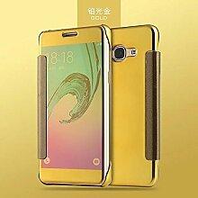 Meimeiwu Mirror Effect Flip Hülle Luxus Electroplate Spiegel Mirror Ultra Dünn Schutzhülle Bumper Case Cover für Samsung Galaxy J5 2015 - Gold