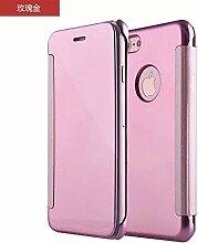 Meimeiwu Mirror Effect Flip Hülle Luxus Electroplate Spiegel Mirror Ultra Dünn Schutzhülle Bumper Case Cover für iPhone 7 - Rose Gold