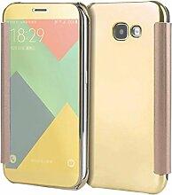 Meimeiwu Mirror Effect Flip Hülle Luxus Electroplate Spiegel Mirror Ultra Dünn Schutzhülle Bumper Case Cover für Samsung Galaxy A3 2017 - Gold