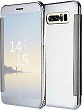 Meimeiwu Mirror Effect Flip Hülle Luxus Electroplate Spiegel Mirror Ultra Dünn Schutzhülle Bumper Case Cover für Samsung Galaxy Note 8 - Silber