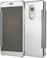 Meimeiwu Mirror Effect Flip Hülle Luxus Electroplate Spiegel Mirror Ultra Dünn Schutzhülle Bumper Case Cover für XiaoMi RedMi Note 4 - Silber