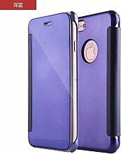 Meimeiwu Mirror Effect Flip Hülle Luxus Electroplate Spiegel Mirror Ultra Dünn Schutzhülle Bumper Case Cover für iPhone 7 - Dunkel Blau