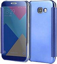Meimeiwu Mirror Effect Flip Hülle Luxus Electroplate Spiegel Mirror Ultra Dünn Schutzhülle Bumper Case Cover für Samsung Galaxy A5 2017 - Dunkel Blau